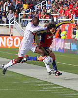 Bakary Soumare #4 of the Chicago Fire and Fabian Espindola #9 of Real Salt Lake. The Chicago Fire and Real Salt Lake played to a 1-1 tie during a Major League Soccer match at Rice-Eccles Stadium in Salt Lake City, Utah on March 29, 2008.