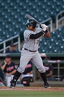 AZL White Sox first baseman Harvin Mendoza (20) at bat during an Arizona League game against the AZL Indians 1 at Goodyear Ballpark on June 20, 2018 in Goodyear, Arizona. AZL Indians 1 defeated AZL White Sox 8-7. (Zachary Lucy/Four Seam Images)
