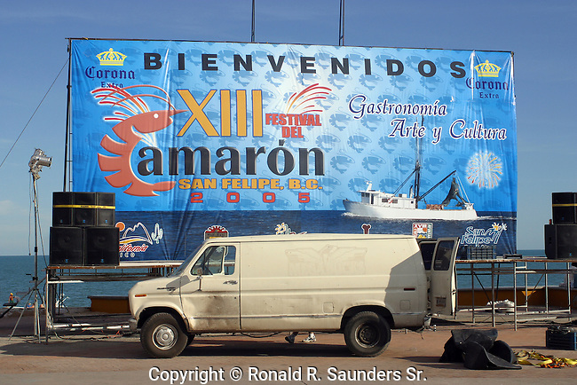 Huge sign in preparations for the annual Shrimp Festival.<br />