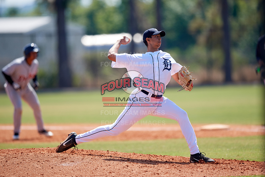 Detroit Tigers pitcher Aaron Fernandez (9) during a Minor League Spring Training intrasquad game on March 24, 2018 at the TigerTown Complex in Lakeland, Florida.  (Mike Janes/Four Seam Images)
