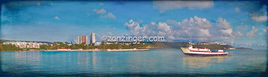 M/ V Isleno Passenger Cargo Ferry, Fajardo  puerto, Digital oil painted texture,  Beautiful, Unique