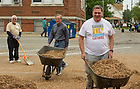 Sept 12, 2014; Notre Dame president Rev. John Jenkins, C.S.C., and Archbishop Joseph W. Tobin help out at the Alumni Association service project at Providence Cristo Rey High School in Indianapolis, IN. (Photo by Barbara Johnston/University of Notre Dame)