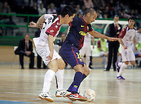 Caja Segovia's Borja Diaz (l) and FC Barcelona Alusport's  Igor Raphael Lima de Souza during Spanish National Futsal League match.November 24,2012. (ALTERPHOTOS/Acero) /NortePhoto