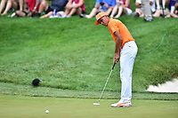 Bethesda, MD - July 2, 2017: Rickie Fowler misses on a long foot putt for Birdie on the seventeenth hole during final round of professional play at the Quicken Loans National Tournament at TPC Potomac at Avenel Farm in Bethesda, MD.  (Photo by Phillip Peters/Media Images International)