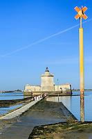 France, Charente-Maritime (17), Bourcefranc-le-Chapus, le fort Louvois et le chemin d'accès submersible // France, Charente Maritime, Bourcefranc le Chapus, Fort Louvois or Fort Chapus