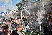 Batavia Muckdogs celebrate after clinching the Pinckney Division Title during a NY-Penn League game against the Auburn Doubledays on September 2, 2019 at Falcon Park in Auburn, New York.  Batavia defeated Auburn 7-0 to clinch the Pinckney Division Title.  (Mike Janes/Four Seam Images)