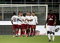 Calcio, Serie A: Milano, stadio Giuseppe Meazza (San Siro), 1 ottobre 2017.<br /> AS Roma's players celebrate after winning 2-0 the Italian Serie A football match between Milan and AS Roma at Milan's Giuseppe Meazza (San Siro) stadium, October 1, 2017.<br /> UPDATE IMAGES PRESS/IsabellaBonotto