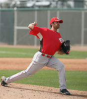 Mark Serrano #88 of the Cincinnati Reds plays in a minor league spring training game against the Arizona Diamondbacks at Salt River Fields on March 15, 2011 in Scottsdale, Arizona. .Photo by:  Bill Mitchell/Four Seam Images.