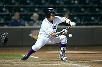 Alex Call (8) of the Winston-Salem Dash lays down a suicide squeeze bunt during the game against the Salem Red Sox at BB&T Ballpark on April 21, 2018 in Winston-Salem, North Carolina.  The Dash walked-off the Red Sox 4-3.  (Brian Westerholt/Four Seam Images)