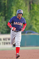 Salem Red Sox outfielder Aneury Tavarez (5) at bat during a game against the Myrtle Beach Pelicans at Ticketreturn.com Field at Pelicans Ballpark on May 5, 2015 in Myrtle Beach, South Carolina.  Myrtle Beach defeated Salem  5-2. (Robert Gurganus/Four Seam Images)