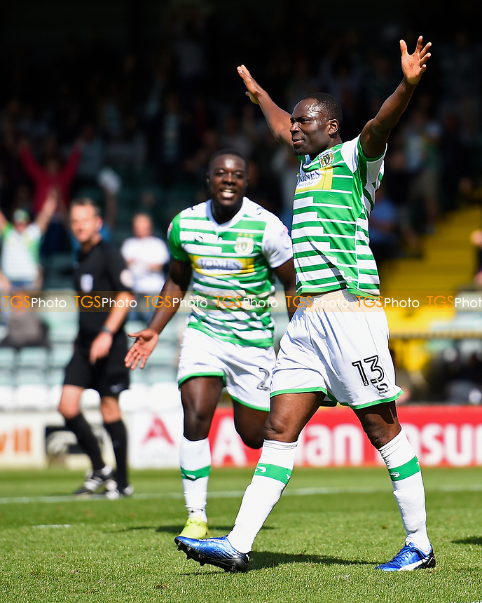 Francois Zoko of Yeovil Town celebrates after scoring the second goal during Yeovil Town vs Accrington Stanley, Sky Bet EFL League 2 Football at Huish Park on 12th August 2017