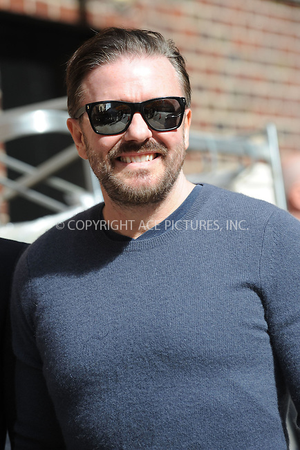 WWW.ACEPIXS.COM . . . . . .April 9, 2012...New York City....Ricky Gervais tapes an appearance on the Late Show with David Letterman on April 9, 2012  in New York City....Please byline: KRISTIN CALLAHAN - ACEPIXS.COM.. . . . . . ..Ace Pictures, Inc: ..tel: (212) 243 8787 or (646) 769 0430..e-mail: info@acepixs.com..web: http://www.acepixs.com .