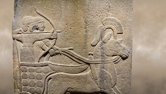 Photo of Hittite relief sculpted orthostat stone panel of Long Wall. Close up of Chariot. Karkamıs, (Kargamıs), Carchemish (Karkemish). Anatolian Civilisations Museum.