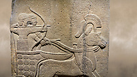 Photo of Hittite relief sculpted orthostat stone panel of Long Wall. Close up of Chariot. Karkamıs, (Kargamıs), Carchemish (Karkemish). Anatolian Civilisations Museum.