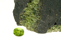 OLIVINE AND PERIDOT<br /> (Variations Available)<br /> Peridot Gemstone with Olivine in Basalt Rock<br /> The refined peridot gem is derived from mineral olivine.