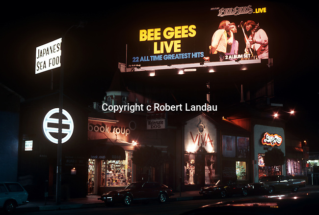 Bee Gees billboard on the Sunset Strip in Los Angeles circa 1979