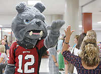 NWA Democrat-Gazette/DAVID GOTTSCHALK  The Springdale High School Red Bulldog mascot receivs a high five from elementary teachers and faculty members of the Springdale School District during the annual appreciation breakfast at Springdale High School Monday, August 10, 2015. The teachers received items from vendors, ate breakfast and participated in a welcoming program.