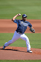 Tampa Bay Rays pitcher Joel Peralta (62) during a spring training game against the Minnesota Twins on March 2, 2014 at Charlotte Sports Park in Port Charlotte, Florida.  Tampa Bay defeated Minnesota 6-3.  (Mike Janes/Four Seam Images)