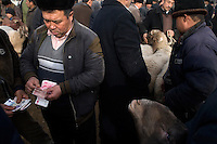 Uighur men bargain over sheep for sale at the Kashgar Sunday Animal Market in Kashgar, Xinjiang, China.
