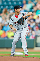 California League All-Star starting pitcher Donn Roach #21 of the Lake Elsinore Storm in action against the Carolina League All-Stars during the 2012 California-Carolina League All-Star Game at BB&T Ballpark on June 19, 2012 in Winston-Salem, North Carolina.  The Carolina League defeated the California League 9-1.  (Brian Westerholt/Four Seam Images)