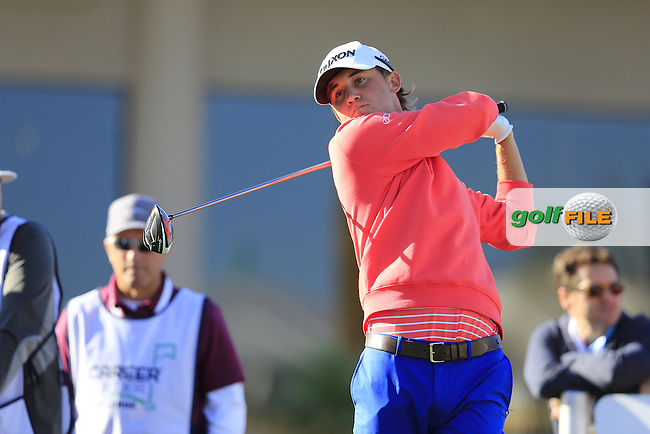 Smylie Kaufman (USA) tees off the 1st tee during Saturday's Round 3 of the 2017 CareerBuilder Challenge held at PGA West, La Quinta, Palm Springs, California, USA.<br /> 21st January 2017.<br /> Picture: Eoin Clarke | Golffile<br /> <br /> <br /> All photos usage must carry mandatory copyright credit (&copy; Golffile | Eoin Clarke)
