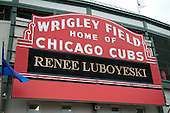 The Main Entry marquee, the most familiar icon of the exterior of Wrigley Field in Chicago, Illinois with a fan's name on it on Thursday, August 22, 2013.<br /> Credit: Ron Sachs / CNP