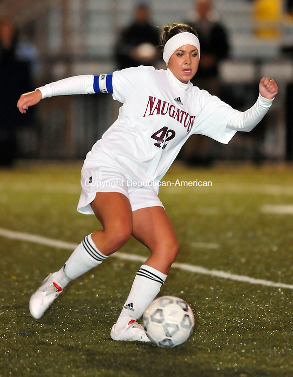 WATERBURY, CT-02 NOVEMBER 2009-110209JS02-FOR ACTION MAN-Naugatuck's Shannon Bahme (42) gets control of the ball during their NVL tournament semi-final game against Watertown Monday at Municipal Stadium in Waterbury. <br /> Jim Shannon Republican-American