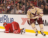 Chad Krys (BU - 5), Chris Calnan (BC - 11) - The Boston University Terriers defeated the Boston College Eagles 3-1 in their opening Beanpot game on Monday, February 6, 2017, at TD Garden in Boston, Massachusetts.