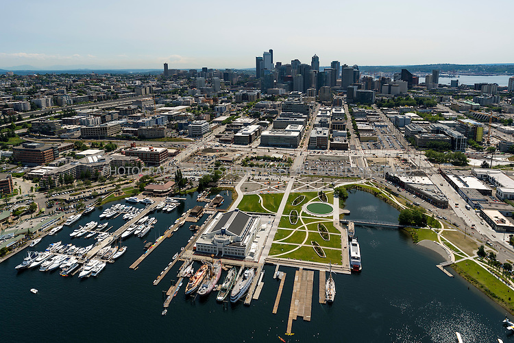 7/7/2012--Seattle, WA, USA..Aerial view of Seattle, Washington on a clear and sunny July day...Here: the South Lake Union neighborhood with Lake Union Park in the foreground..©2012 Stuart Isett. All rights reserved.