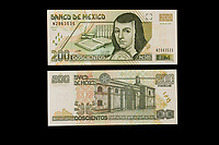 Mexico, North America.  Two Hundred Pesos Banknote, showing Sister Juana de Asbaje (Juana Ines de la Cruz), a 17th-century nun, poet, and writer.  Convent of San Jeronimo on the back.