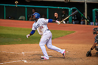 Miguel Sano (24) of the Chattanooga Lookouts bats during a game between the Jackson Generals and Chattanooga Lookouts at AT&T Field on May 10, 2015 in Chattanooga, Tennessee. (Brace Hemmelgarn/Four Seam Images)