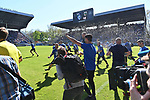 20.04.2019, Carl Benz Stadion, Mannheim, GER, RL Sued, SV Waldhof Mannheim vs. VfR Wormatia Worms, <br /> <br /> DFL REGULATIONS PROHIBIT ANY USE OF PHOTOGRAPHS AS IMAGE SEQUENCES AND/OR QUASI-VIDEO.<br /> <br /> im Bild: Jubel ueber den Aufstieg<br /> <br /> Foto © nordphoto / Fabisch