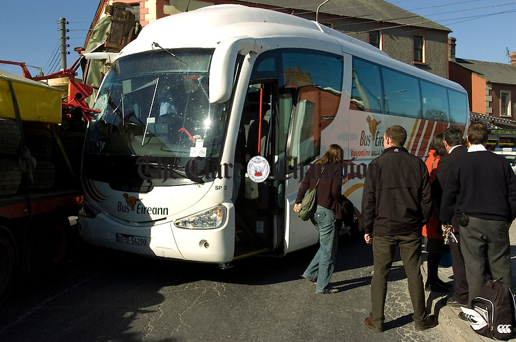 A collision between a bus and truck at Clarecastle.Pic Arthur Ellis.