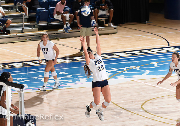 Florida International University women's volleyball setter Katie Friesen (20) plays against  the University of Central Florida which won the match 3-0 on September 17, 2015 at Miami, Florida.