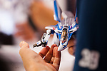 A visitor tests an action figure of the fiction mecha anime Macross at the 56th All Japan Model & Hobby Show in Tokyo Big Sight on September 25, 2016. The exhibition introduced hobby goods such as plastic models, action figures, drones, and airsoft guns. (Photo by Rodrigo Reyes Marin/AFLO)