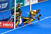 2nd February 2020; Sydney Olympic Park, Sydney, New South Wales, Australia; Womens International FIH Field Hockey, Australia versus Great Britain Women; the Australian defence runs out to defend a corner