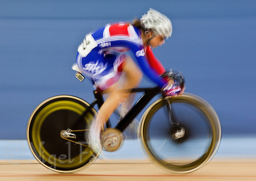 19 FEB 2012 - LONDON, GBR - Great Britain's Laura Trott (GBR) competing in the Women's Omnium Scratch Race during the UCI Track Cycling World Cup, and London Prepares test event for the 2012 Olympic Games, at the Olympic Park Velodrome in Stratford, London, Great Britain (PHOTO (C) 2012 NIGEL FARROW)