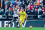 Víctor Ruiz Torre of Villarreal CF (R) fights for the ball with Simone Zaza of Valencia CF (L) during the La Liga 2017-18 match between Valencia CF and Villarreal CF at Estadio de Mestalla on 23 December 2017 in Valencia, Spain. Photo by Maria Jose Segovia Carmona / Power Sport Images