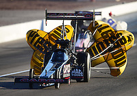 Oct. 27, 2012; Las Vegas, NV, USA: NHRA top fuel driver Steve Torrence during qualifying for the Big O Tires Nationals at The Strip in Las Vegas. Mandatory Credit: Mark J. Rebilas-