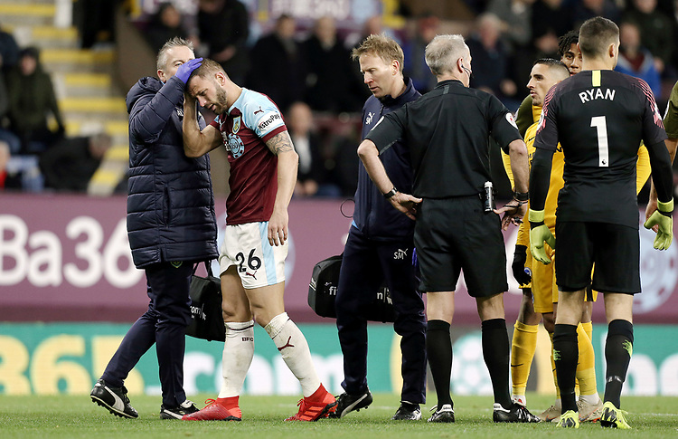 Burnley's Phillip Bardsley receives treatment after he went down with an apparent head injury in the penalty area<br /> <br /> Photographer Rich Linley/CameraSport<br /> <br /> The Premier League - Burnley v Brighton and Hove Albion - Saturday 8th December 2018 - Turf Moor - Burnley<br /> <br /> World Copyright © 2018 CameraSport. All rights reserved. 43 Linden Ave. Countesthorpe. Leicester. England. LE8 5PG - Tel: +44 (0) 116 277 4147 - admin@camerasport.com - www.camerasport.com