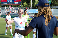 Cary, North Carolina  - Saturday June 03, 2017: Becky Sauerbrunn and Jessica McDonald after a regular season National Women's Soccer League (NWSL) match between the North Carolina Courage and the FC Kansas City at Sahlen's Stadium at WakeMed Soccer Park. The Courage won the game 2-0.