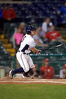 Pitt Panthers second baseman Matt Johnson (5) at bat during a game against the Ohio State Buckeyes on February 20, 2016 at Holman Stadium at Historic Dodgertown in Vero Beach, Florida.  Ohio State defeated Pitt 11-8 in thirteen innings.  (Mike Janes/Four Seam Images)