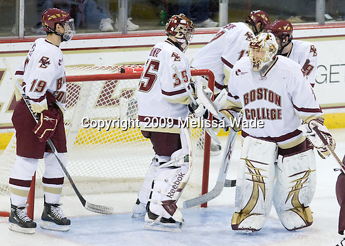 Chris Kreider (BC - 19), Parker Milner (BC - 35), John Muse (BC - 1) - The Boston College Eagles defeated the Merrimack College Warriors 4-3 on Friday, October 30, 2009, at Conte Forum in Chestnut Hill, Massachusetts.