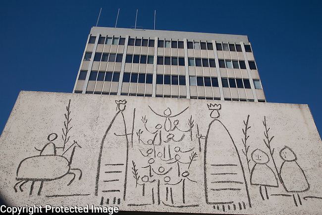 Picasso Mural on the Architects Association in Nova Square, Barcelona, Catalonia, Spain