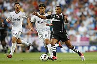 02.09.2012 SPAIN -  La Liga 12/13 Matchday 3th  match played between Real Madrid CF vs  Granada C.F. (3-0) at Santiago Bernabeu stadium. The picture show Youssef El Arabi (French Midfielder of Granada C.F.) and  Sami Khedira (German midfielder of Real Madrid)