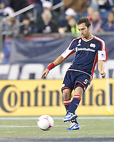 New England Revolution defender AJ Soares (5) passes the ball. In a Major League Soccer (MLS) match, the New England Revolution (blue) defeated Chicago Fire (red), 1-0, at Gillette Stadium on October 20, 2012.