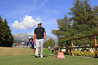 Hideto Tanihara (JPN) walks onto the 18th tee during Saturday's Round 3 of the 2018 Omega European Masters, held at the Golf Club Crans-Sur-Sierre, Crans Montana, Switzerland. 8th September 2018.<br /> Picture: Eoin Clarke | Golffile<br /> <br /> <br /> All photos usage must carry mandatory copyright credit (&copy; Golffile | Eoin Clarke)
