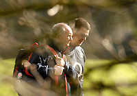 Bath, GREAT BRITAIN, Brian ASHTON [left] and Lee MEARS, walking through trees, to the training pitch for a England Rugby training session at Bath University Sports Complex, ENGLAND  [Photo, Peter Spurrier/Intersport-images].....