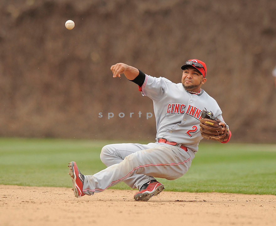 ALEX GONZALEZ, of the Cincinnati Reds, in action  during the Reds game against the Chicago Cubs  on April 23, 2009 in Chicago, Illinois  The Reds beat  the Cubs 7-1.