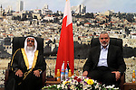 Palestinian prime minister in Gaza Strip Ismail Haniyeh meets with the Bahraini parliamentary delegation headed by Representatives Council Speaker Khalifa bin Ahmed al-Dhahrani, in Gaza city on May 08, 2013. The delegation is expected to hold meetings with officials from the Palestinian Authority and the Palestinian Legislative Council to discuss Palestinian issues and issues of joint interests. Photo by Mohammed Asad